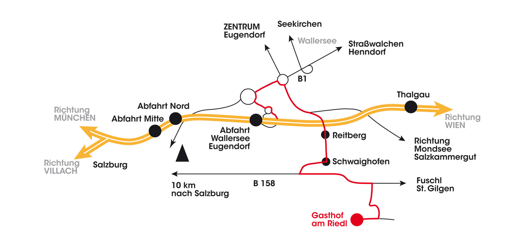 Directions to the Hotel Gasthof Am Riedl in Koppl